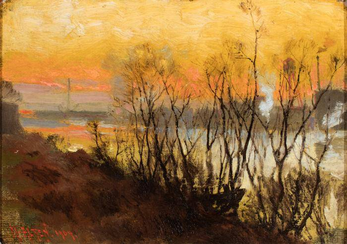 Painting of the Grand River in Grand Rapids, MI, bare trees in the foreground, an orange sky in the background